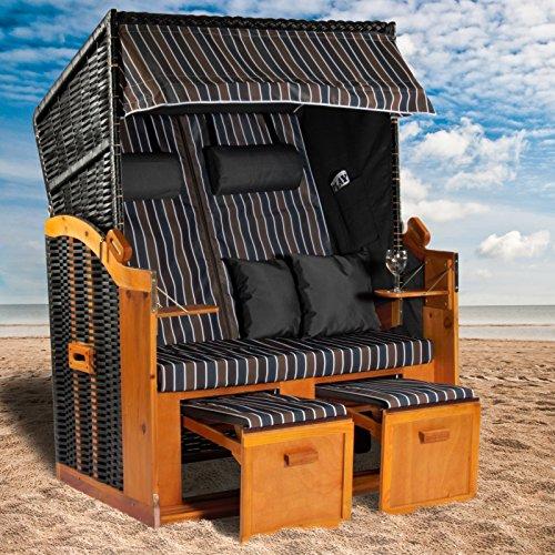 Strandkorb Ostsee XXL Volllieger grau blau braun inklusive Schutzhülle, ideal für Garten und Terrasse 120cm - 2