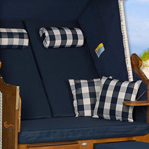 Strandkorb Ostsee blau, Geflecht weiß, Variante A, LILIMO ® - 4