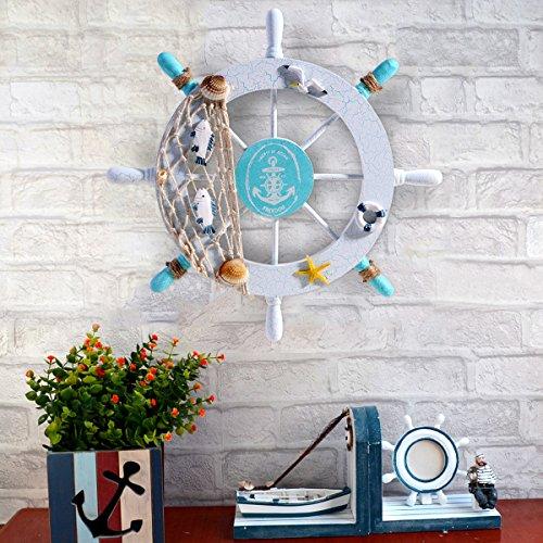 WINOMO steuerrad aus holz wanddeko maritime dekoration schiff lenkrad Nautik-Schiffs-Rad-Wand-Dekor-Strand-hölzernes Boot-Fischen-Netz-Shell - 5