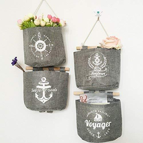 Milopon Wand Hängeorganizer Wandtaschen Baumwolle Aufbewahrungstasche hängenden Hängeaufbewahrung Beutel Maritime Tür zurück Aufbewahrungstasche - 2