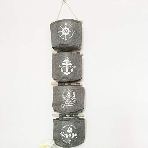 Milopon Wand Hängeorganizer Wandtaschen Baumwolle Aufbewahrungstasche hängenden Hängeaufbewahrung Beutel Maritime Tür zurück Aufbewahrungstasche - 4