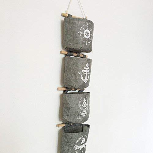 Milopon Wand Hängeorganizer Wandtaschen Baumwolle Aufbewahrungstasche hängenden Hängeaufbewahrung Beutel Maritime Tür zurück Aufbewahrungstasche - 5