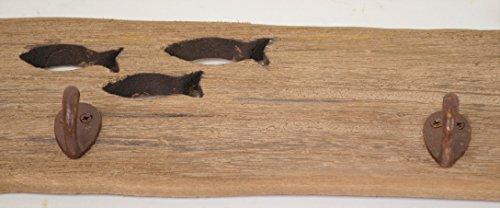 CHICCIE Maritime Wandgarderobe - aus Holz - mit 2 Kleiderhaken - Länge 42,5cm - Kleiderständer - 3