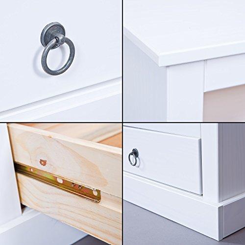 Inter Link Maritim Style Move 20901530 TV Tisch weiß TV Board Hifi Regal Schrank Media Rack Center massiv Landhaus NEU - 8