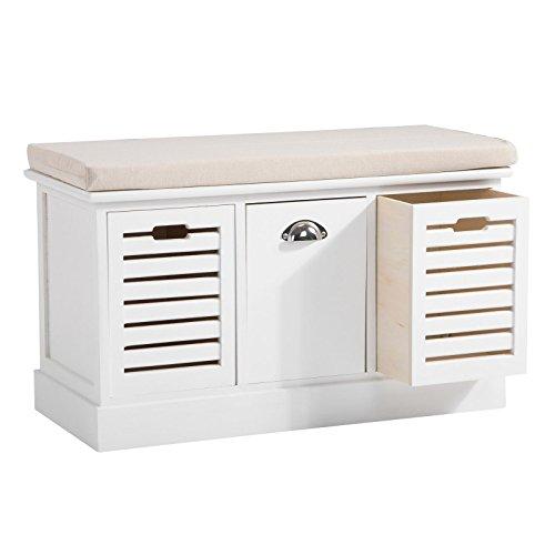 CARO-Möbel Sitzbank TRIENT Garderobenbank Sitztruhe in Weiß mit Sitzkissen und 3 Schubkästen, Vintage Shabby Look Landhaus