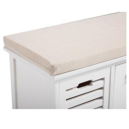 CARO-Möbel Sitzbank TRIENT Garderobenbank Sitztruhe in Weiß mit Sitzkissen und 3 Schubkästen, Vintage Shabby Look Landhaus - 4