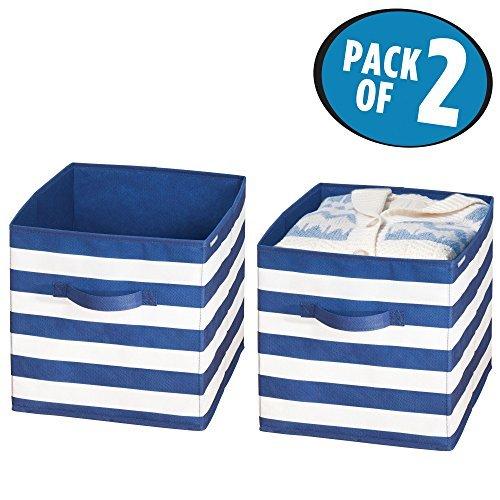 mDesign Aufbewahrungsbox für Spielzeug - Stoffkiste für Kinderzimmer oder Schlafzimmer - Spielzeugkiste mit Griffen - marineblau/weiß - 2er-Set