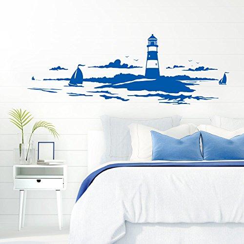 Grandora Skyline Küstenlandschaft Leuchtturm I azurblau 120 x 42 cm I Bad Wohnzimmer Schlafzimmer Aufkleber Wandaufkleber Wandsticker Modern W974