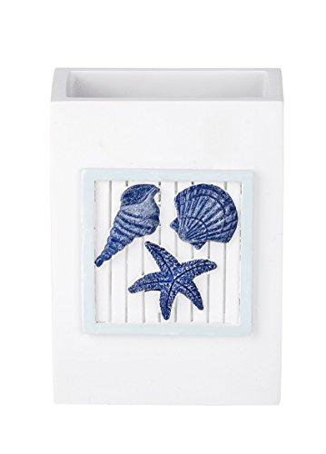 WENKO 21710100 Zahnputzbecher Nautic - Zahnbürstenhalter, Polyresin, 8 x 11 x 6 cm, Weiß - 4
