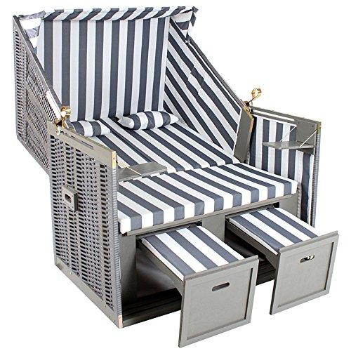 TecTake Zweisitzer Strandkorb + Premium Schutzhülle + 2 Extra Kissen -Diverse Farben- (Grau-Weiß | Nr. 400636) - 3