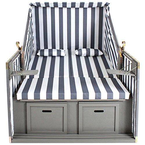 TecTake Zweisitzer Strandkorb + Premium Schutzhülle + 2 Extra Kissen -Diverse Farben- (Grau-Weiß | Nr. 400636) - 4