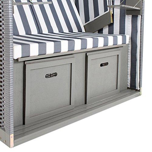 TecTake Zweisitzer Strandkorb + Premium Schutzhülle + 2 Extra Kissen -Diverse Farben- (Grau-Weiß | Nr. 400636) - 5
