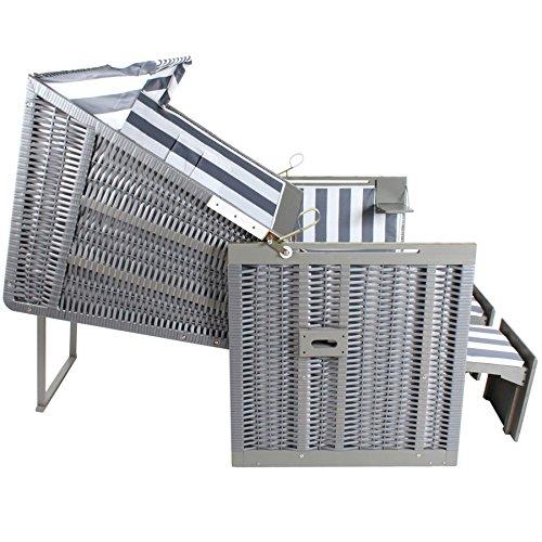 TecTake Zweisitzer Strandkorb + Premium Schutzhülle + 2 Extra Kissen -Diverse Farben- (Grau-Weiß | Nr. 400636) - 6