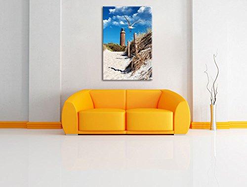 Schöner Leuchtturm am Strand Format: 80x60 auf Leinwand, XXL riesige Bilder fertig gerahmt mit Keilrahmen, Kunstdruck auf Wandbild mit Rahmen, günstiger als Gemälde oder Ölbild, kein Poster oder Plakat - 2