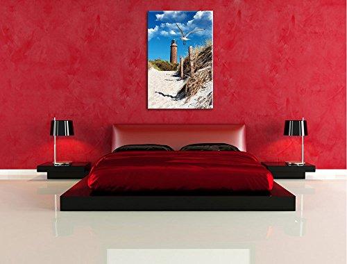 Schöner Leuchtturm am Strand Format: 80x60 auf Leinwand, XXL riesige Bilder fertig gerahmt mit Keilrahmen, Kunstdruck auf Wandbild mit Rahmen, günstiger als Gemälde oder Ölbild, kein Poster oder Plakat - 5