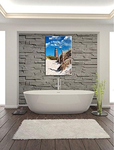 Schöner Leuchtturm am Strand Format: 80x60 auf Leinwand, XXL riesige Bilder fertig gerahmt mit Keilrahmen, Kunstdruck auf Wandbild mit Rahmen, günstiger als Gemälde oder Ölbild, kein Poster oder Plakat - 6