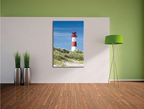 Leuchtturm hinter Dünen , Format: 40x60 auf hochkantiges Leinwand, XXL riesige Bilder fertig gerahmt mit Keilrahmen, Kunstdruck auf Wandbild mit Rahmen, günstiger als Gemälde oder Ölbild, kein Poster oder Plakat - 3