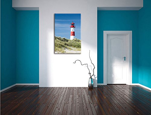 Leuchtturm hinter Dünen , Format: 40x60 auf hochkantiges Leinwand, XXL riesige Bilder fertig gerahmt mit Keilrahmen, Kunstdruck auf Wandbild mit Rahmen, günstiger als Gemälde oder Ölbild, kein Poster oder Plakat - 4