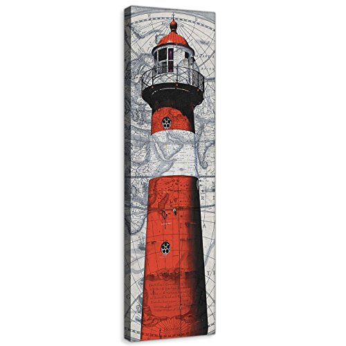 DekoShop Leinwandbild Wandbild Kunstdruck Roter Leuchtturm AMDPP10017O3 O3 (45cm. x 145cm.) Canvas Wandbilder XXL Überraschungsaufkleber Gratis! - 2