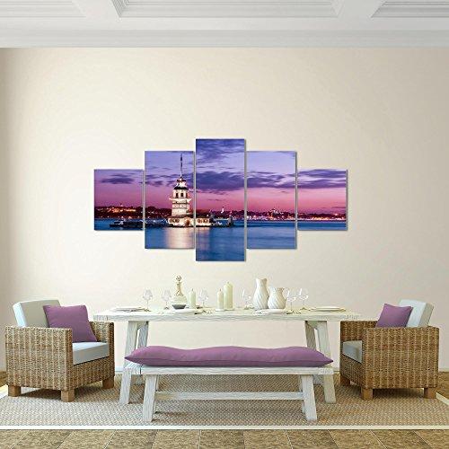 Bilder Leuchtturm Türkei Wandbild 200 x 100 cm Vlies - Leinwand Bild XXL Format Wandbilder Wohnzimmer Wohnung Deko Kunstdrucke Violett 5 Teilig - MADE IN GERMANY - Fertig zum Aufhängen 604851b - 2