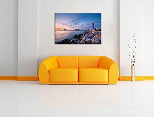 Leuchtturm bei Ebbe Bild auf Leinwand, XXL riesige Bilder fertig gerahmt mit Keilrahmen, Kunstdruck auf Wandbild mit Rahmen, guenstiger als Gemaelde oder Bild, kein Poster oder Plakat, Format:120x80 cm - 2