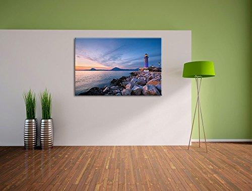 Leuchtturm bei Ebbe Bild auf Leinwand, XXL riesige Bilder fertig gerahmt mit Keilrahmen, Kunstdruck auf Wandbild mit Rahmen, guenstiger als Gemaelde oder Bild, kein Poster oder Plakat, Format:120x80 cm - 3