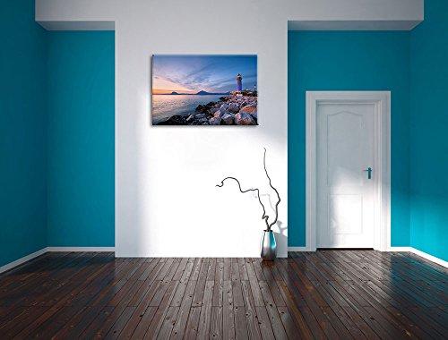 Leuchtturm bei Ebbe Bild auf Leinwand, XXL riesige Bilder fertig gerahmt mit Keilrahmen, Kunstdruck auf Wandbild mit Rahmen, guenstiger als Gemaelde oder Bild, kein Poster oder Plakat, Format:120x80 cm - 4