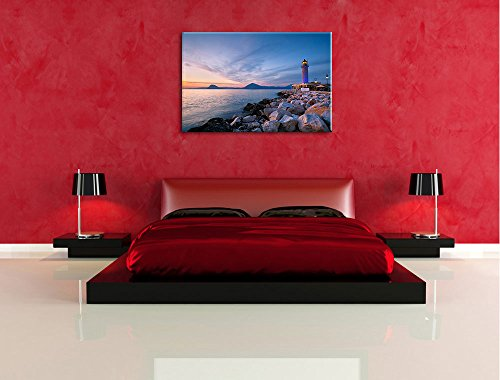 Leuchtturm bei Ebbe Bild auf Leinwand, XXL riesige Bilder fertig gerahmt mit Keilrahmen, Kunstdruck auf Wandbild mit Rahmen, guenstiger als Gemaelde oder Bild, kein Poster oder Plakat, Format:120x80 cm - 5