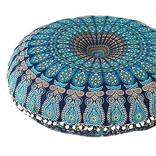 SMILEQ Große Mandala-Boden Kissen Runde Bohemian Meditation Kissenbezug Ottoman Hocker (Blau) - 4