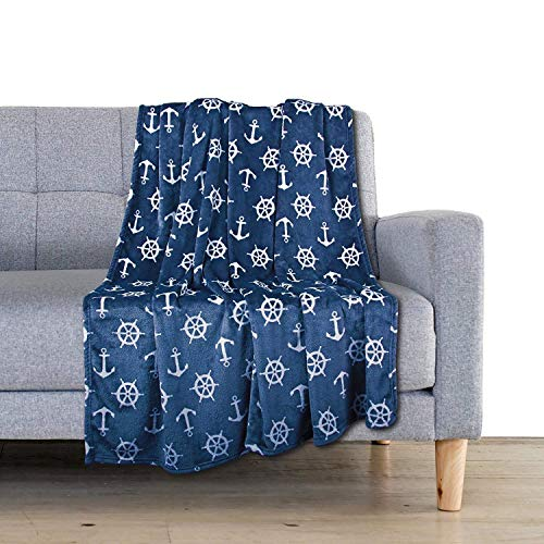 Delindo Lifestyle® Kuscheldecke Nautic BLAU, Microfaser Fleece-Decke in 150x200 cm, flauschig weiche Maritime Wohndecke für Erwachsene und Kinder