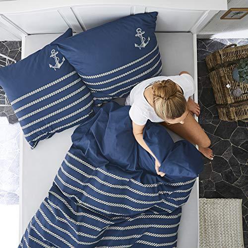 Zeitgeist Cuxhaven Bettwäsche 135x200 cm - Satinbettwäsche dunkelblau, 100% Baumwolle, 2 teilig mit Reißverschluss - 2