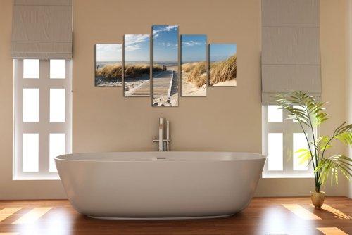 Visario Leinwandbilder 5517 Bilder auf Leinwand 160 x 80 cm Ostsee Nordsee 5-teilig, natur - 2