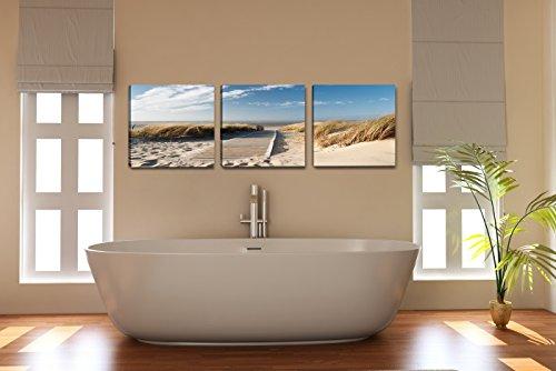 Visario 4221 Bilder auf Leinwand Bild 150 x 50 cm Strand Düne Nordsee - Ostsee drei Teile 50x50cm - 2