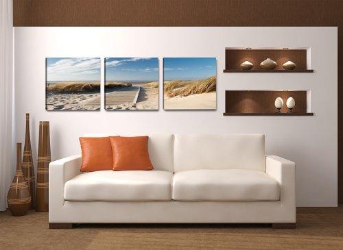Visario 4221 Bilder auf Leinwand Bild 150 x 50 cm Strand Düne Nordsee - Ostsee drei Teile 50x50cm - 3