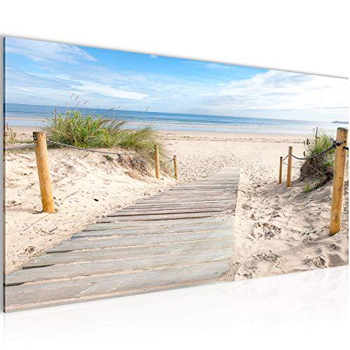 Bilder Strand Meer Wandbild Vlies - Leinwand Bild XXL Format Wandbilder Wohnzimmer Wohnung Deko Kunstdrucke Blau 1 Teilig - MADE IN GERMANY - Fertig zum Aufhängen 607312b