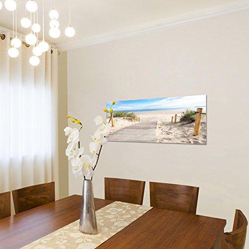 Bilder Strand Meer Wandbild Vlies - Leinwand Bild XXL Format Wandbilder Wohnzimmer Wohnung Deko Kunstdrucke Blau 1 Teilig - MADE IN GERMANY - Fertig zum Aufhängen 607312b - 3