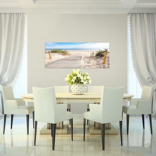 Bilder Strand Meer Wandbild Vlies - Leinwand Bild XXL Format Wandbilder Wohnzimmer Wohnung Deko Kunstdrucke Blau 1 Teilig - MADE IN GERMANY - Fertig zum Aufhängen 607312b - 4