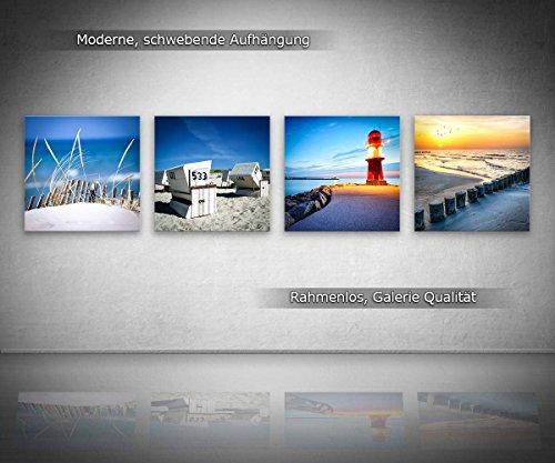 Ostsee Nordsee Set A schwebend, 4-teiliges Bilder-Set jedes Teil 29x29cm, Seidenmatte Optik auf Forex, moderne Optik, UV-stabil, wasserfest, Deko für Büro, Wohnzimmer, Urlaub und Meer Sonnenuntergang - 2
