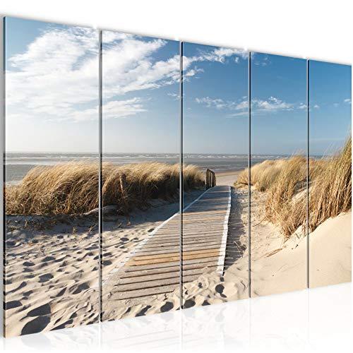 Bilder Strand Meer Wandbild 200 x 80 cm Vlies - Leinwand Bild XXL Format Wandbilder Wohnzimmer Wohnung Deko Kunstdrucke Beige 5 Teilig - MADE IN GERMANY - Fertig zum Aufhängen 604055a