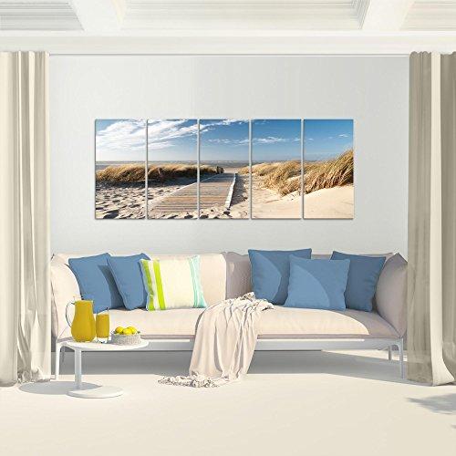 Bilder Strand Meer Wandbild 200 x 80 cm Vlies - Leinwand Bild XXL Format Wandbilder Wohnzimmer Wohnung Deko Kunstdrucke Beige 5 Teilig - MADE IN GERMANY - Fertig zum Aufhängen 604055a - 5