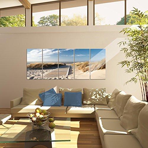 Bilder Strand Meer Wandbild 200 x 80 cm Vlies - Leinwand Bild XXL Format Wandbilder Wohnzimmer Wohnung Deko Kunstdrucke Beige 5 Teilig - MADE IN GERMANY - Fertig zum Aufhängen 604055a - 6