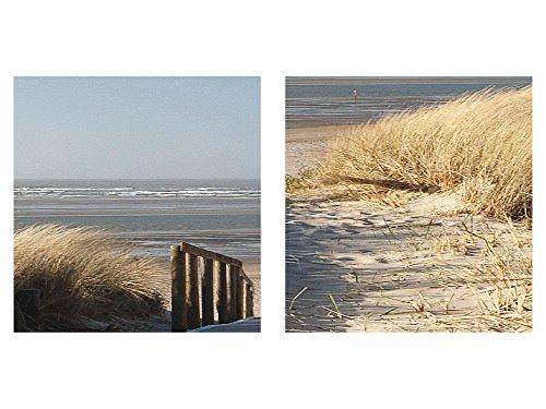 Bilder Strand Meer Wandbild 200 x 80 cm Vlies - Leinwand Bild XXL Format Wandbilder Wohnzimmer Wohnung Deko Kunstdrucke Beige 5 Teilig - MADE IN GERMANY - Fertig zum Aufhängen 604055a - 7